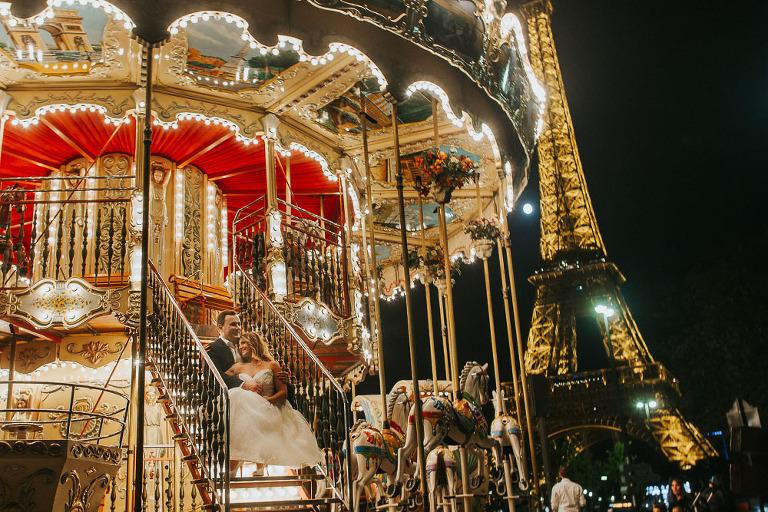 nocna sesja ślubna w Paryżu