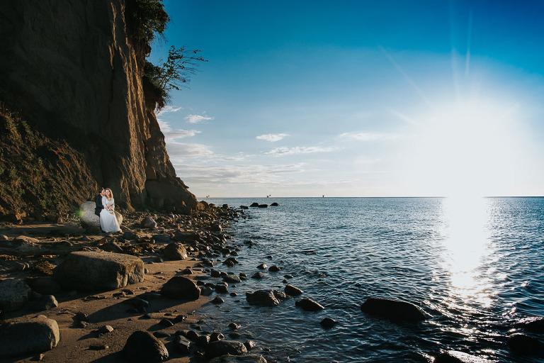 Para ślubna podczas sesji w Gdynia Klif Orłowo